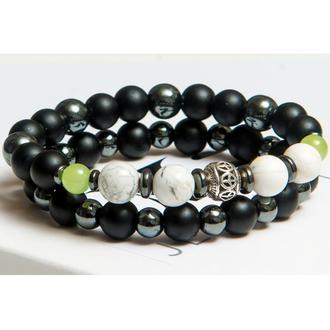 Парные браслеты DMS Jewelry из натуральных камней шунгита и гематита DOUBLE ELEGANT