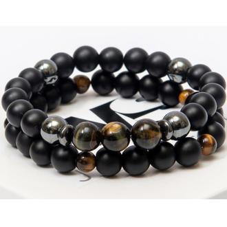 Парные браслеты DMS Jewelry из шунгита, гематита и тигрового глаза DOUBLE BRAVE TIGER