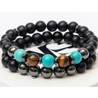 Парные браслеты DMS Jewelry из шунгита и гематита DOUBLE DYNAMIC BRACELET