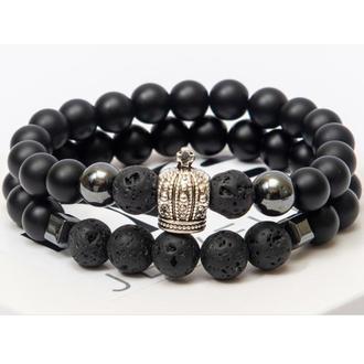 Парные браслеты DMS Jewelry из шунгита, гематита и лавового камня DOUBLE ELEGANT CROWN