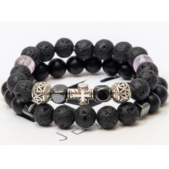 Парные браслеты DMS Jewelry из шунгита и лавового камня с крестом DOUBLE FEMALE METAL CROSS