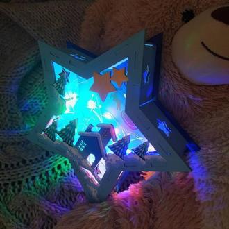 """Новогодний ночник из дерева """"Рождественская ночь"""" . Ручная роспись. С LED подсветкой."""