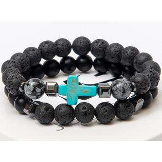 Парные браслеты DMS Jewelry из шунгита и лавового камня с бирюзовым крестом DOUBLE GREY CROSS
