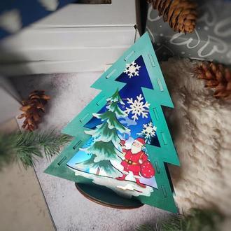 """Новорічний нічник з дерева з LED підсвічуванням """"Різдвяна ялинка"""""""
