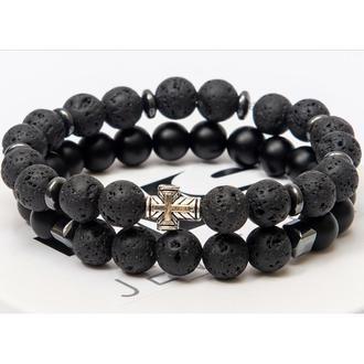Парные браслеты DMS Jewelry из шунгита и лавового камня с крестом DOUBLE MALE METAL CROSS