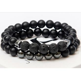 Парные браслеты DMS Jewelry из шунгита, гематита, лавового камня DOUBLE MEN'S STULE