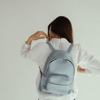 Голубой кожаный рюкзак. Стильный рюкзак из натуральной кожи