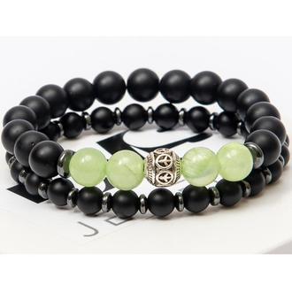 Парные браслеты DMS Jewelry из натуральных камней шунгита и оникса с дисками DOUBLE ONIX EYE