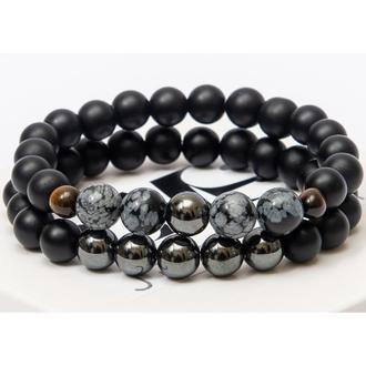 Парні браслети DMS Jewelry з шунгита, гематиту, обсидіану DOUBLE POWER BRACELET