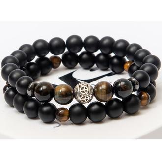 Парные браслеты DMS Jewelry из натуральных камней шунгита и тигрового глаза DOUBLE TIGER'S EYE
