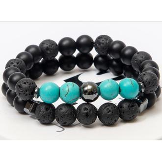 Парные браслеты DMS Jewelry из шунгита, лавового камня, бирюзы DOUBLE TURQUOISE EYE