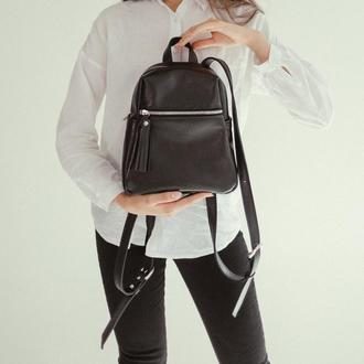 Черный кожаный рюкзак, стильный рюкзак из натуральной кожи