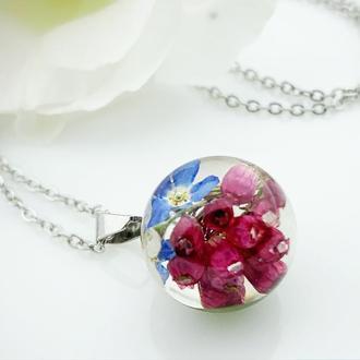 Подвеска с незабудками и вереском. Украшения с цветами и растениями. (модель № 2623) Glassy Flowers