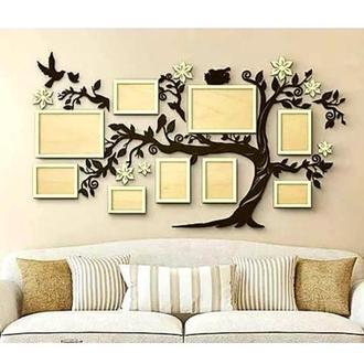 Фотокомпозиция коллаж в форме дерева ′Семейное дерево′ на 9 фото 156х88 см