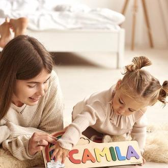 Дерев'яна головоломка-веселка, унікальний подарунок для дітей, кольоровий декор для дитячої кімнати
