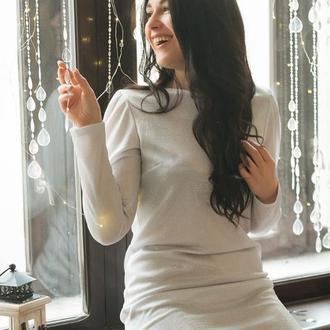 Нарядное платье мини из белого люрекса