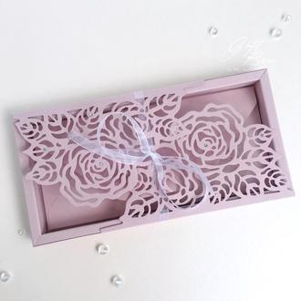 Gift box «Rose» Цвет 4 (дымчато розовый) - открытка в коробочке