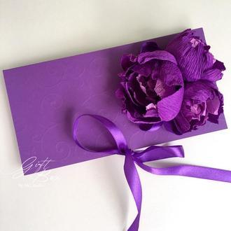 """Gift Box """"Kollet"""" Цвет 4 (фиолетовый)/ без жемчуга - открытка в коробочке"""