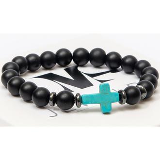 Браслет DMS Jewelry из натуральных камней шунгита, дисков гематита с бирюзовым крестом BLACK CROSS