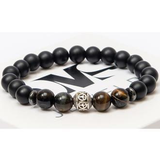Браслет DMS Jewelry из натуральных камней шунгита, тигрового глаза с дисками и мячом TIGER'S EYE