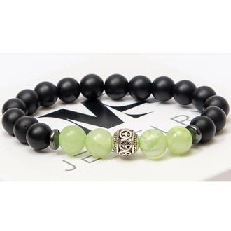 Браслет DMS Jewelry из натуральных камней шунгита, оникса с дисками и мячом ONIX EYE