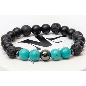 Браслет DMS Jewelry из шунгита, лавового камня, бирюзы TURQUOISE EYE