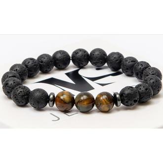 Браслет DMS Jewelry з натуральних каменів лавового каменю і тигрового ока з дисками TIGER TRIPLE