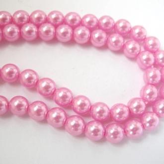 Бусины жемчуг стеклянный  6мм розовые на нити  . 80 шт.