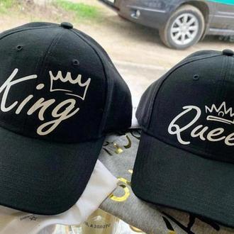 """КП000028Парные кепки (бейсболки) с принтом """"King. Queen"""" Push IT"""