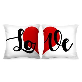 """П000109Парные декоративные подушки с принтом """"Сердце: Love"""""""