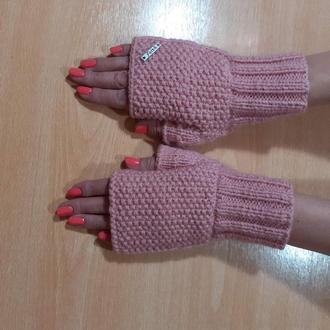 Вязаные митенки перчатки без пальцев короткие женские - нежность пудрового