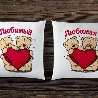 """П000116Парные декоративные подушки с принтом """"Мишки: Любимый и Любимая"""""""