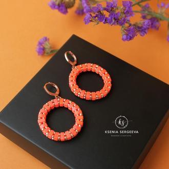 Серьги кольца, цвет оранж