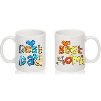 """К000227Парные белые чашки (кружки) с принтом """"Best dad. Best momi"""""""