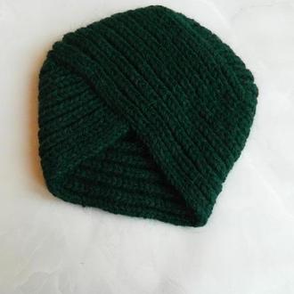 Обалденная шапка-чалма вязаный тюрбан цвета изумруд 100% ручная работа шерсть/пух норки