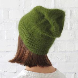 Шапка из ангоры хаки, вязаная женская шапка бини зеленая