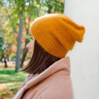 Шапка из ангоры горчичная, вязаная женская шапка бини желтая