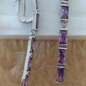 Серьги с аметистами бриллиантовой огранки, серебро 925 пробы