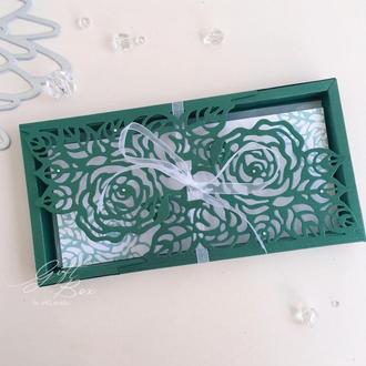 "Gift Box ""Rose"" Цвет 1 (изумруд) - открытка в коробочке"
