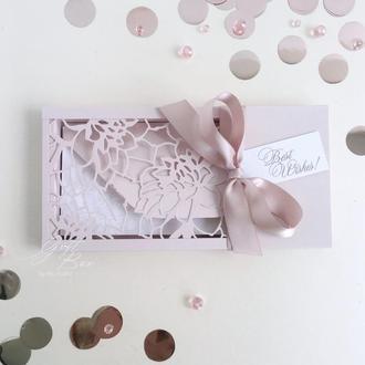 "Gift Box ""Florale"" Цвет 3 (пудра) - открытка в коробочке"