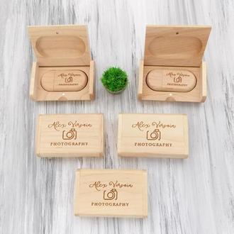 Деревянный набор флешек на заказ для свадебного фотографа, 16-32 Гб