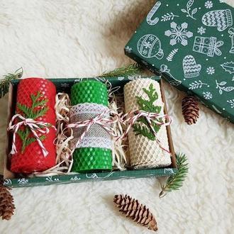 Новогодний ароматный набор свечей из вощины подарочный набор