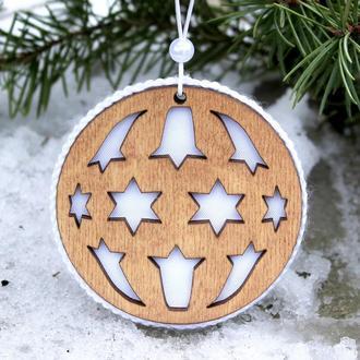 """Деревянный шар на елку, новогодняя елочная игрушка, подвеска на елку """"Шарик"""", новогодний декор"""