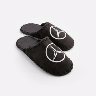 Мужские домашние тапочки Mercedes черного цвета, закрытой формы