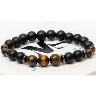 Браслет DMS Jewelry из натуральных камней шунгита и тигрового глаза с дисками ENERGY BRACELET