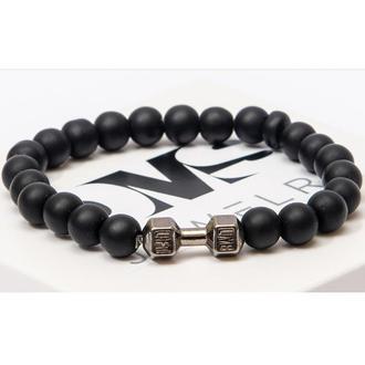 Браслет DMS Jewelry из натурального камня шунгит с гантелью STRONGMAN'S BRACELET