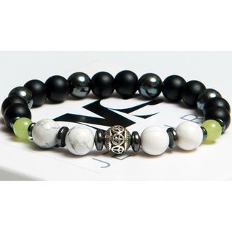 Браслет DMS Jewelry из оникса, шунгита, гематита, кахолонга с мячом Элегантный Оникс