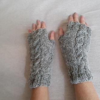 Перчатки Митенки Теплые Шерстяные Серые Вязаные Спицами  Варежки без Пальцев из Шерсти на Зиму