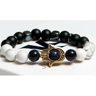 Браслет DMS Jewelry из натуральных камней шунгита, кахолонга, авантюрина ХАМСА