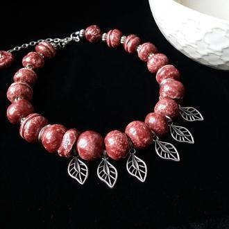 Ягодный сок керамическое розовое ожерелье